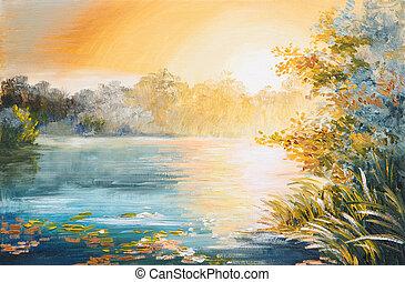 quadro, pôr do sol, -, lago