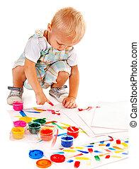 quadro, paint., dedo, criança
