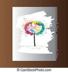 quadro, papel, árvore, coloridos, em branco