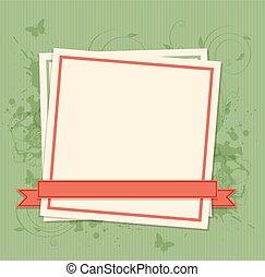 quadro, papel, experiência verde