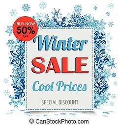 quadro, papel, snowflakes, venda, inverno