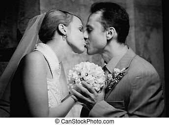 quadro, par, casado, jovem, monocromático
