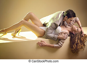 quadro, par, fabuloso, jovem, sensual