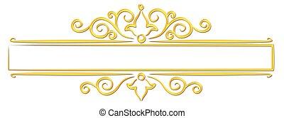 quadro, pattern., ouro