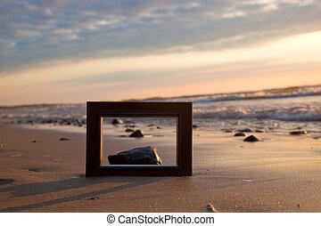 quadro, praia, em, pôr do sol