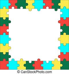 quadro, quebra-cabeça, modelo