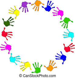 quadro, redondo, coloridos, mão