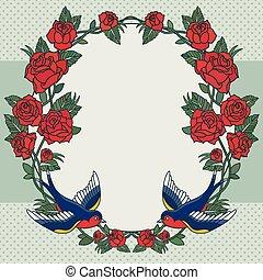 quadro, rosas, pássaros