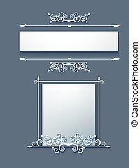 quadro, scrolls., vector., ornamental