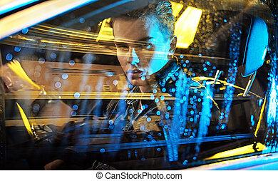 quadro, sentando, car, jovem, conceitual, homem