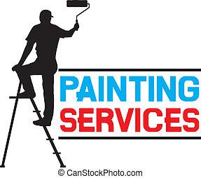 quadro, serviços, desenho
