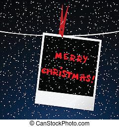 quadro, sobre, céu, feliz, noturna, cartão natal