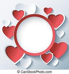 Quadro,  valentines, fundo, corações, Dia,  3D