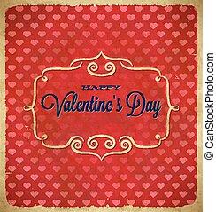 quadro, valentines, polca, corações, dia, ponto