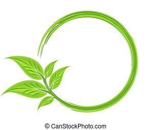 quadro, verde, leaves.