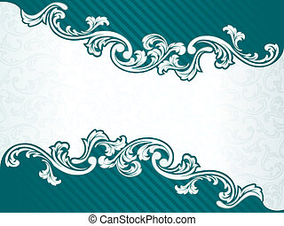 quadro, verde, retro, francês