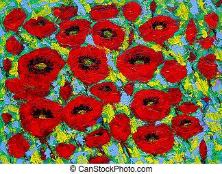 quadro, vermelho, flowers., original, arte