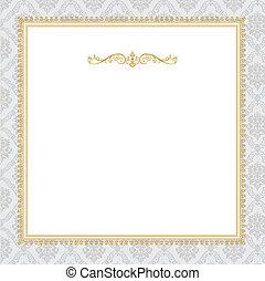 quadro, vetorial, complexo, ouro, ornate