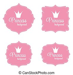 quadro, vetorial, coroa, princesa, ilustração