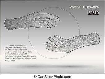 quadro, vetorial, fio, mãos