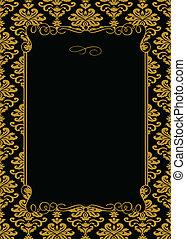 quadro, vetorial, ouro