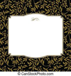 quadro, vetorial, quadrado, ouro