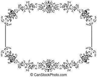 quadro, vindima, ilustração, floral