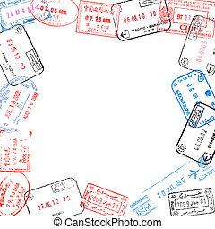 quadro, visto, selos, passaporte