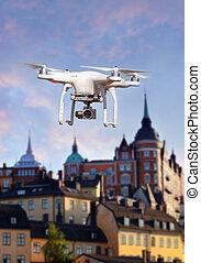 quadrocopter, action, copter, bourdon