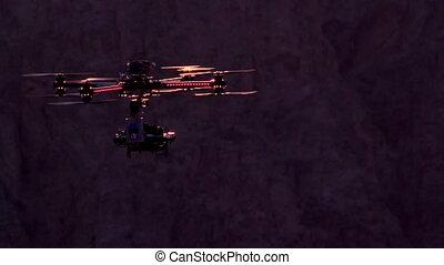 Quadrocopter Backlit Sunset