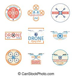 Quadrocopter badges. Aviation drone, helicopter and control...