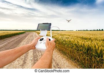 quadrocopter, copter., controles, flight., unmanned, hombre