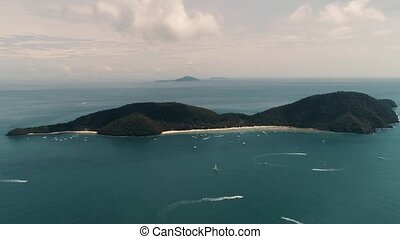 quadrocopter., coup, au-dessus, île, corail, level., hauteur, bourdon, mètres, mer, thaïlande, tir, 500, vue
