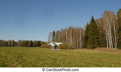 quadrocopter flying in the sky