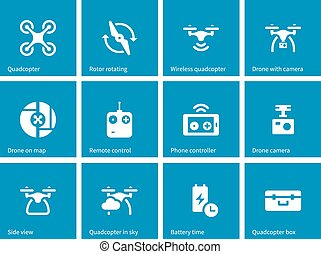 Quadrocopter icons on blue background. Vector illustration.