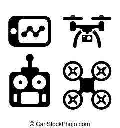 Quadrocopter Icons. - Quadrocopter with Camera and Control...