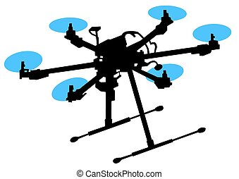 Quadrocopter in sky - Quadrocopter with photo equipment on a...