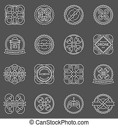Quadrocopter labels or badges - vector set of drone logo or...
