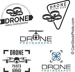 quadrocopter, logos, service, conception, insignes, magasin, &, logotypes., bourdon, ensemble, elements., réparation