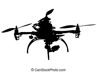 Quadrocopter on white - Quadrocopter with photo equipment on...