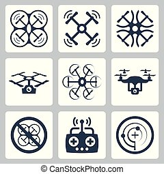 Quadrocopter related vector icon set