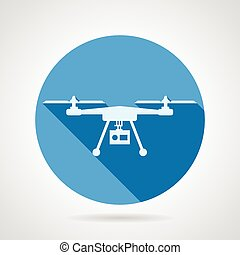 Quadrocopter sign flat vector icon - Blue round vector icon...