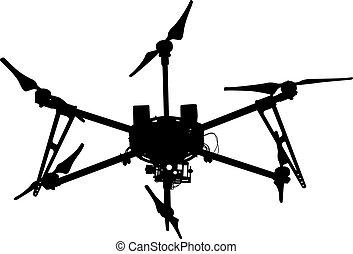 quadrocopter, silueta, ilustração, zangão, vetorial, pretas