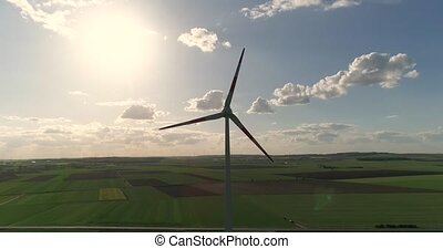 quadrocopter, soir, aérien, générateur, contre, panoramique, au-dessus, fond, vallée, coucher soleil, vent, vue