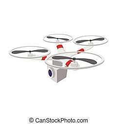 Quadrocopter with camera cartoon icon on a white background