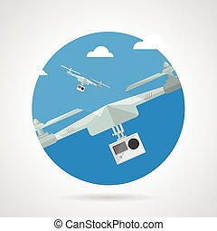 Quadrocopter with camera flat vector icon - Single round...