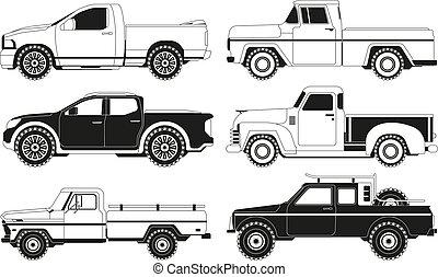 quadros, automóveis, pickup, vário, silhouettes., caminhão, pretas