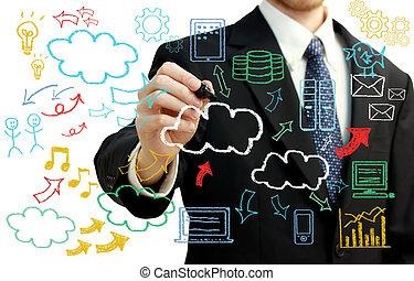quadros, computando, nuvem, homem negócios, themed