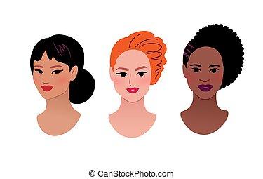 quadros, femininas, cobrança, perfil, multiethnic