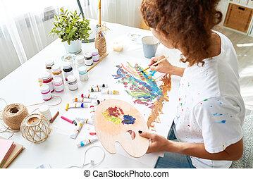 quadros, mulher, quadro, jovem, criativo